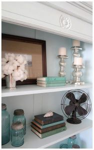 Built in bookshelves with vintage items