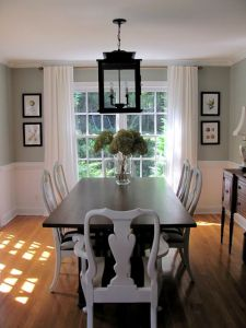 Dining room wainscoting and lantern light