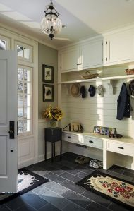 Entryway cubbies, hooks, bench