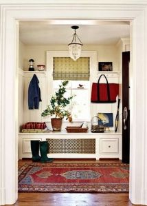 Entryway with bench and hooks