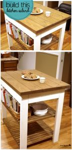 Kitchen island white with wood top