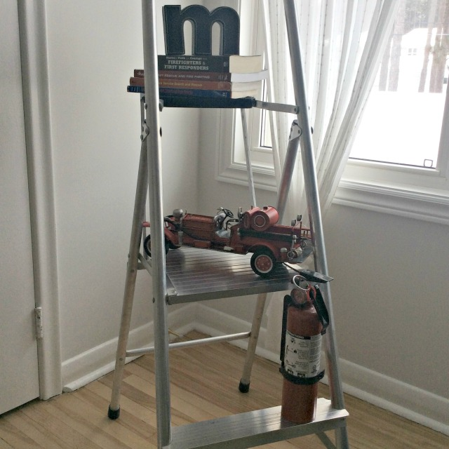 Ladder with truck & extinguisher