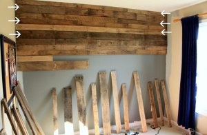 Barn board pallet wall basement