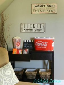 Basement media room snack station