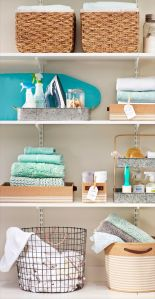Baskets, wire baskets, galvanized metal on shelves