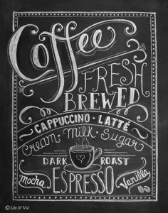 Chalkboard printable coffee nook