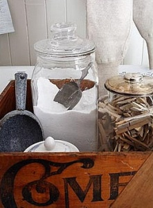 Crate with jars of soap