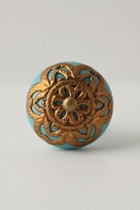 Drawer pulls gold and turquoise