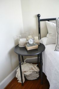 Guest room decor and basket with blanket