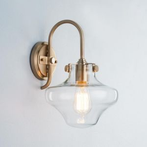 Industrial schoolhouse light powder room