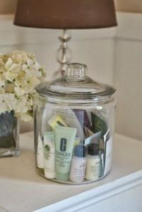 Jar of samples for guests