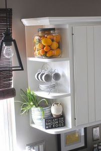 Kitchen shelf on cabinets