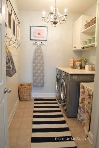 Laundry room shelving and hooks