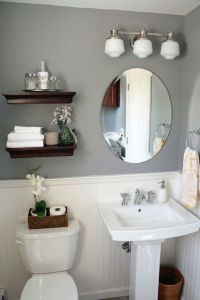 Powder room layout and wainscotting