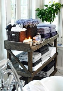 Rustic bathroom storage