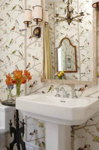 Sarah Richardson wallpaper powder room and stool
