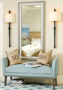 Setee with sconces and mirror