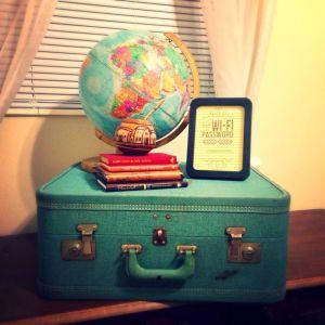 Suitcase, globe, wifi