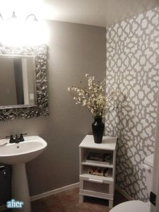 Wallpapering one wall in powder room