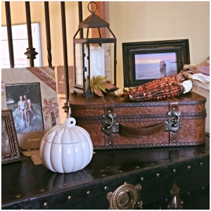 Fall steamer trunk display
