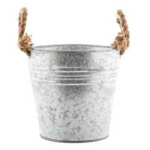 Tin bucket w rope handles