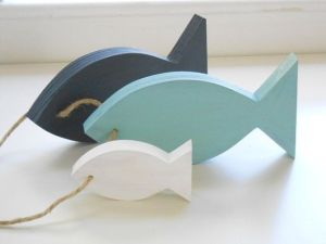 Nautical Nursery - Wooden fish décor - Etsy $24. These are the colours of our baby boy's nursery.